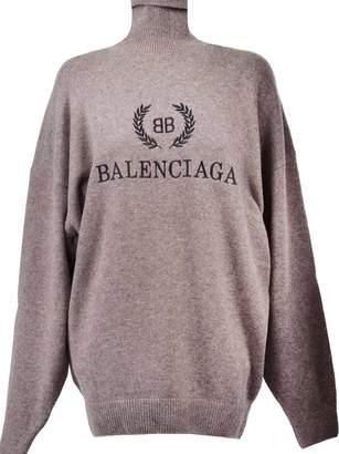 Balenciaga Logo Embroidered Turtleneck Sweater