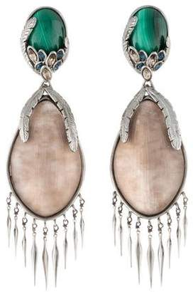Alexis Bittar Malachite & Lucite Fringe Drop Earrings