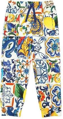 Dolce & Gabbana Maiolica Print Cotton Sweatpants