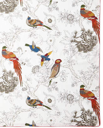 "Handprint Bird & Floral Tablecloth, 60"" x 90"""