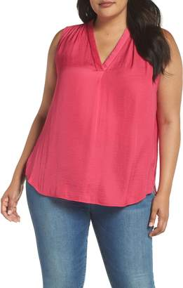 Vince Camuto V-Neck Rumple Satin Blouse