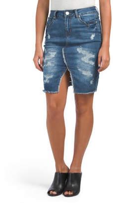Juniors Denim Tex Mex Midi Skirt