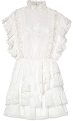 Ulla Johnson Holly Ruffled Lace-trimmed Cotton-voile Mini Dress - White
