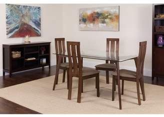 Flash Furniture Gridley 5 Piece Espresso Wood Dining Table Set with Glass Top and Vertical Wide Slat Back Wood Dining Chairs - Padded Seats