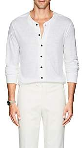 Giorgio Armani Men's Slub-Knit Linen Henley - White