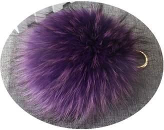 Qmfur Fox Raccoon Fur Large Ball Pom Pom Keychain Womens Bag Purse Charms