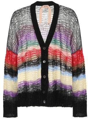 N°21 Striped mohair-blend cardigan
