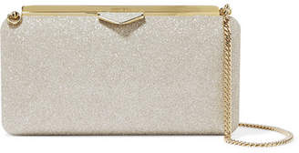 Jimmy Choo Ellipse Glittered Leather Clutch - Silver