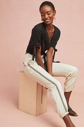 Anthropologie Cedar Embroidered Joggers