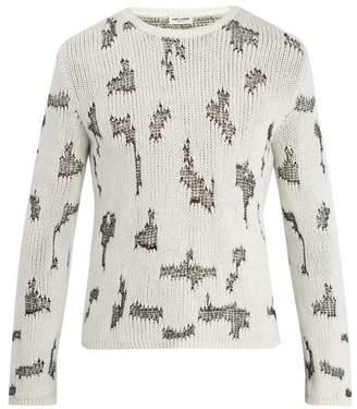 Saint Laurent Cross Stitch Cashmere Blend Sweater - Mens - White Multi