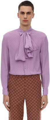 Gucci Gg Silk Crepe Shirt W/Scarf
