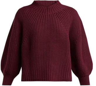 Apiece Apart Merle Balloon Sleeve Cotton Blend Sweater - Womens - Burgundy