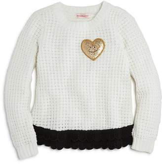 Design History Girls' Heart Patch Sweater - Little Kid
