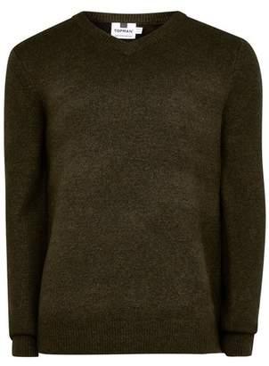 Topman Mens Khaki V Neck Soft Knitted Jumper