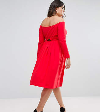 Asos Wrap Back Off Shoulder Midi Dress With Long Sleeves