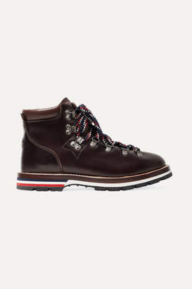 Moncler Blanche Leather Ankle Boots - Dark brown
