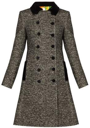 Dolce & Gabbana Double Breasted Boucle Tweed Coat - Womens - Grey Multi