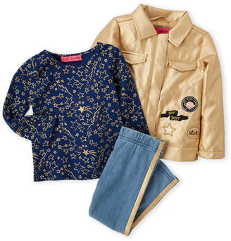 Betsey Johnson Toddler Girls) 3-Piece Faux Leather Jacket & Chambray Leggings Set