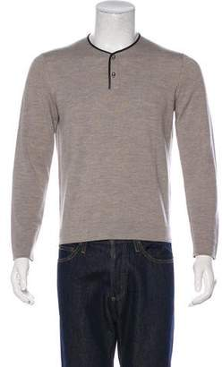 The Kooples Wool & Leather Henley Sweater