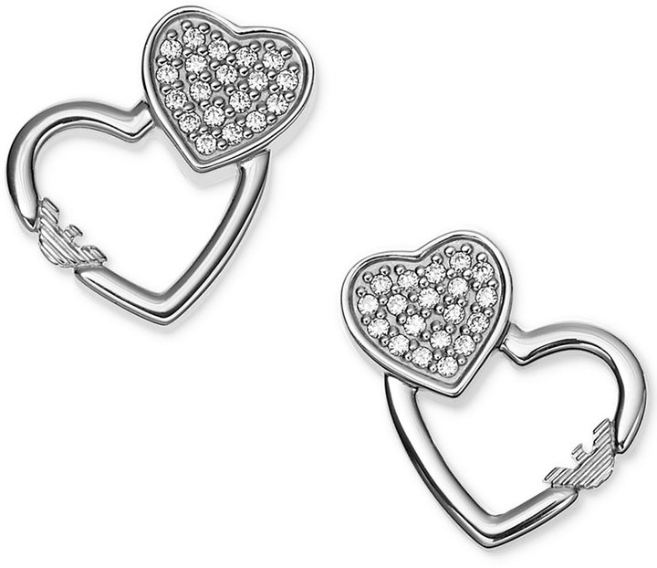 Giorgio Armani Emporio Armani Sterling Silver Pavé Double Heart Stud Earrings