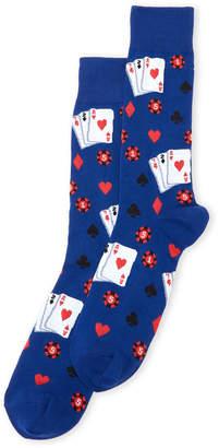 Hot Sox Gambling Print Crew Socks