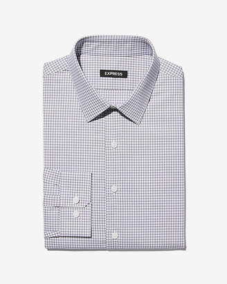 Express Slim Check Print Point Collar Dress Shirt