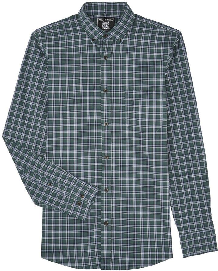 Austin Reed - Long Sleeve Green/Blue Check Shirt