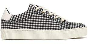 Claudie Pierlot Lace-Up Gingham Leather-Trimmed Canvas Sneakers