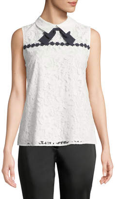 Karl Lagerfeld Paris Floral Lace Collared Blouse with Bow