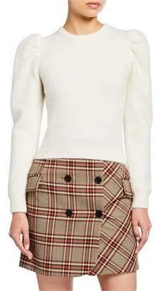 Derek Lam 10 Crosby Puff-Sleeve Alpaca Sweater