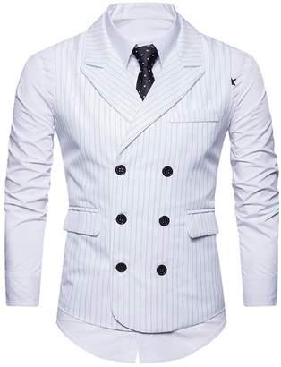 C2S Men's Peak Lapel Double Breasted Strips Handsome Casual Wedding Tux Vest WT001 (, XL)