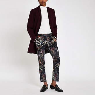 River Island Black floral skinny cropped smart pants