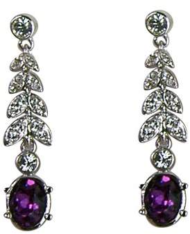 Belle Epoque Cristalina Rhodium Plated Crystal Leaf Drop Earrings with Amethyst of 3.6cm Long
