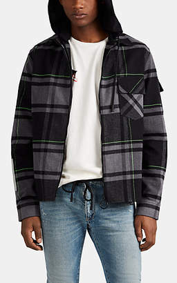 Off-White Off - White c/o Virgil Abloh Men's Logo Plaid Flannel Shirt Jacket - White