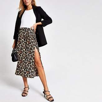 River Island Beige leopard print thigh split midi skirt