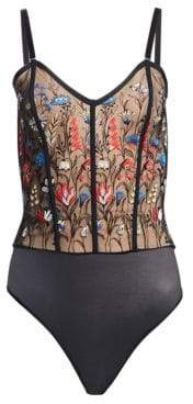 Wolford Wildflower String Embroidered Corset Thong Bodysuit