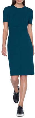 Akris Zip-Waist Short-Sleeve Wool Sheath Dress