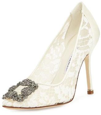 Hangisi Floral Lace Crystal-Toe Pump