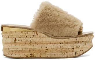 Chloé Beige Shearling Camille Flatform Sandals