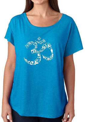 LOS ANGELES POP ART Los Angeles Pop Art Women's Loose Fit Dolman Cut Word Art Shirt - THE OM SYMBOL OUT OF YOGA POSES