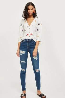 Topshop Moto rich blue super ripped jamie jeans