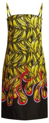 Prada Banana And Flame Print Gabardine Dress - Womens - Yellow Print