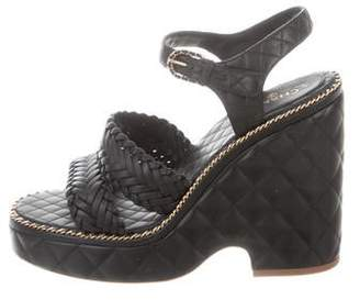 Chanel Chain-Link Wedge Sandals