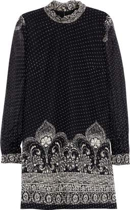 Anna Sui Printed Fil Coupe Silk-blend Chiffon Mini Dress