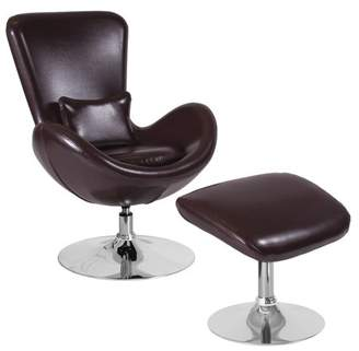 Flash Furniture Egg Series Brown Leather Side Reception Chair with Ottoman