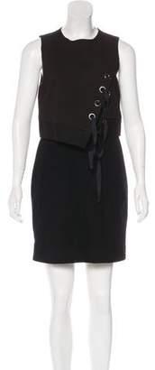Tibi Wool-Paneled Mini Dress