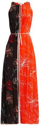 Diane von Furstenberg Sleeveless Open Back Floral Print Silk Dress - Womens - Orange Print