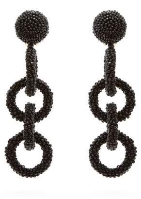 Oscar de la Renta Beaded Hoop Chain Drop Earrings - Womens - Black