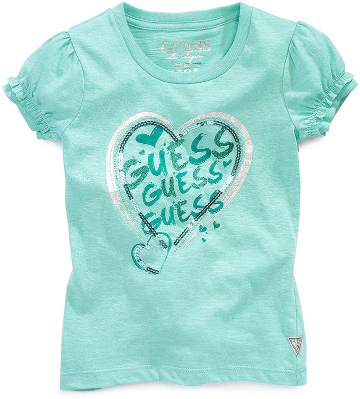 GUESS Shirt, Little Girls Puff Sleeve Logo Tee