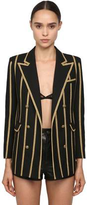 Saint Laurent Striped Wool Gabardine Blazer